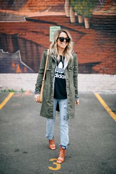 The Collaboration Blog: Dressing Up the T-Shirt #streetstyle #adidas #sportychic #thecollaborationblog #trenchcoat #casualchic #sporty #fashion #fall #fallfashion