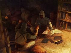 """Malik and Kadar discuss literature; Altair chooses to sleep instead. """"Which Never Comes Back"""" by luulala on DeviantArt.com."""
