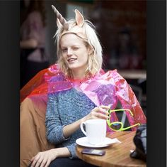 Hanne Gaby Odiele dressed up as a unicorn for Halloween.