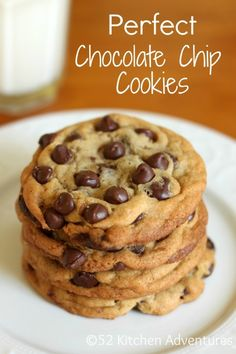 Perfect Chocolate Chip Cookies- Im sold on this recipe!! Nelson declared it was perfect..not to soft..perfect amount of crunch..just right, he said :)