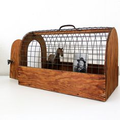 Vintage Wooden Animal Cage / Carrier by luckylittledot Pet Cage, Bird Cage, Hedgehog Supplies, Boer Goats, Wood Bird, Wooden Animals, Animal Cage, Weathered Wood, Wood And Metal