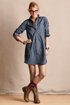 Chambray Shirt Dress with leggings, boots, a belt, and a scarf.... Herro Fall!!!! : )