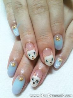 Cat and Cat Paws Halloween Nail Art Tutorial and Nail Care Cat Nail Art, Cat Nails, Bunny Nails, Cat Nail Designs, Hallo Kitty, Hello Kitty Nails, Manicure Y Pedicure, Manicure Ideas, Nail Tips