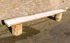 Robust timber garden bench. Available at www.creativeopen.nl #treetrunk #tree #wood #interior #design #inspiration #CreativeOpen #creative #treetrunktable #table #bench #garden #seat #unique #handmade #furniture #oak