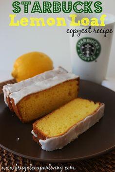 Copycat Starbucks Lemon Loaf with Glaze Icing Recipe on Frugal Coupon Living. Copycat Recipe. Starbucks Recipe. Pound Cake Recipe. Lemon Recipe.