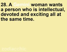 What a Gemini woman wants...