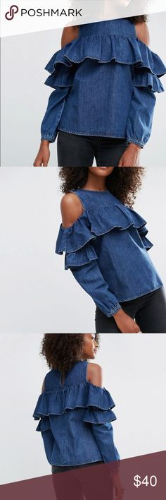 NWT ASOS Front Ruffle Cold Shoulder Denim  top New With Tags Top by ASOS Collection Cotton denim High round neckline Cold shoulder cut Ruffle design Keyhole back Regular fit - true to size Machine wash 100% Cotton Size 10 ASOS Tops Blouses