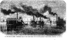 THE CIVIL WAR IN AMERICA: CONFEDERATE FLAG OF TRUCE BOATS COMING DOWN THE RIVER SAVANNAH TO MEET FEDERAL TRANSPORTS . The Penny Illustrated Paper (London, England), Saturday, December 31, 1864