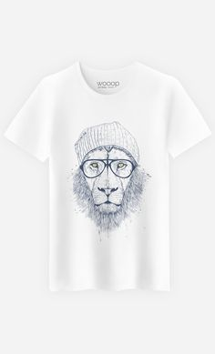 "T-Shirt Homme Original ""Cool Lion"" by Solti Balazs - Art Shop - Wooop.fr"
