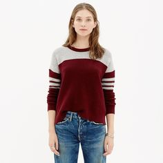 Color Block Texturework Sweater An allover airy texture. The easy, slouchy fit we love. Sporty varsity stripes on the sleeves. There is pilling on the sweater but that's a given since it's a sweater. Madewell Sweaters Crew & Scoop Necks