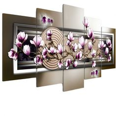 'Zen Garden and Magnolia' Graphic Art Multi-Piece Image on Wrapped Canvas East Urban Home Size: 100 cm H x 200 cm W Magnolia, Indian Garden, Canvas Prints, Painting Prints, Art Prints, Great Wave Off Kanagawa, Decoration Design, Banksy, House Warming