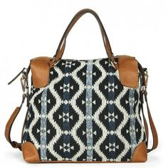 Printed medium satchel bag with top handles and a removable shoulder strap