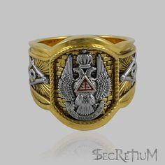 Master Mason Ring 33 degree Scottish Rite 18K Yellow Gold Pld Freemasonry