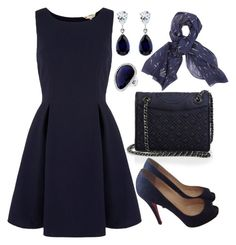 """""""Dark Blue"""" by bethy-s ❤ liked on Polyvore featuring Tory Burch, CARAT*, Christian Louboutin, T Tahari, Yumi and rag & bone"""
