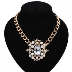 $2.46 Exaggerated Faux Gem and Pearl Decorated Flower Pendant Necklace For Women