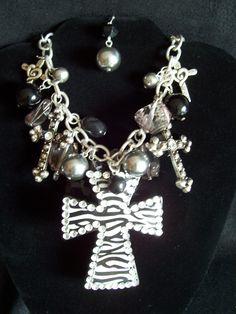 Zebra Cross Charm Necklace Earrings Western Cowgirl Bling
