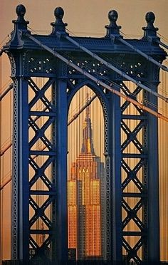 The Brooklyn Bridge and  Empire State Building, New York City