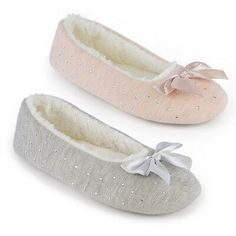 Slippers Ladies Diamond Jersey Marl Ballet Slippers With Bow Ballet Fashion, Caps For Women, Womens Flats, Ballet Flats, Slippers, Dance Shoes, Bows, Diamond, Lady