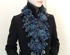 Your place to buy and sell all things handmade Diy Scarf, Lace Scarf, Rose Lace, Lace Design, Merino Wool, Blue Grey, Ivory, Knitting, Trending Outfits