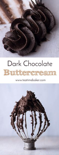 Dark Chocolate Buttercream is the perfect topping for your next cake or cupcakes. Just the right consistency for piping. & The Teatime Baker & Chocolate buttercream recipe & The post Dark Chocolate Buttercream appeared first on Food Monster. Chocolate Buttercream Recipe, Cake Frosting Recipe, Icing Frosting, Frosting Recipes, Cupcake Recipes, Cupcake Cakes, Dessert Recipes, Muffin Cupcake, Buttercream Cupcakes