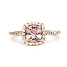 Kate McCoy custom light pink sapphire ring with diamonds. 18kt rose gold. #BespokeEngagementRings #BespokeWeddingRings #Milestone #Lifestyle: