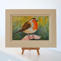 Robin in hand painting Original Postcard sized Watercolour OSWOA  £15.00