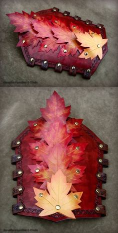 Autumn Bracers, mark II by rassaku on DeviantArt Larp Armor, Cosplay Armor, Cosplay Diy, Leather Bracers, Leather Tooling, Costume Armour, Fantasy Armor, Leather Pattern, Leather Projects