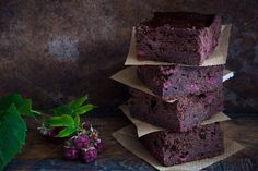 Check out Chocolate brownies with raspberries by letterberry on Creative Market