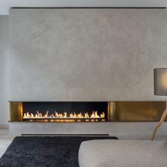 modern gas fire with brass panels