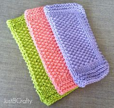 Seed Stitch Dishcloth Pattern - lovely stitch texture - love the look of these plus the colours - FREE KNITTING pattern - beginner Knitted Washcloth Patterns, Knitted Washcloths, Dishcloth Knitting Patterns, Crochet Dishcloths, Knit Or Crochet, Crochet Stitches, Crochet Patterns, Crochet Blankets, Stitch Patterns