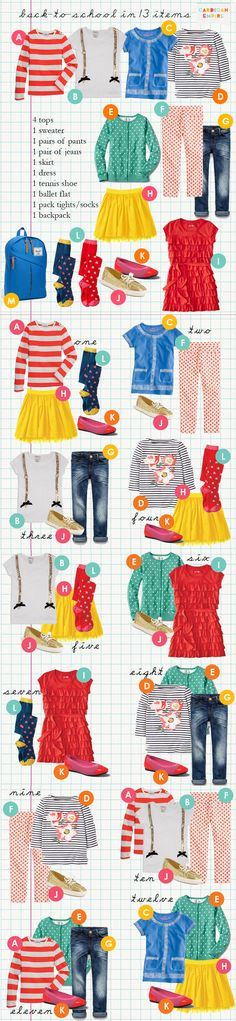 Girls capsule wardrobe: Combining 13 items of clothing.great resource when back to school shopping! Tween Fashion, Little Girl Fashion, School Fashion, Look Fashion, Fashion Styles, Fashion Ideas, Capsule Wardrobe, Kids Wardrobe, Wardrobe Ideas
