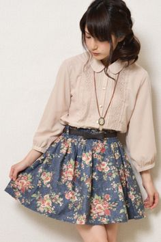 Adorable blouse. The print of the dress doesn't speak to me, though the colors… Kawaii Fashion, Cute Fashion, Fashion Models, Womens Fashion, Japanese Fashion, Asian Fashion, Japanese Outfits, Moda Harajuku, Mode Mori