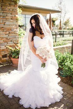 sweetheart mermaid style wedding gown with train #bride #weddingdress #weddingchicks http://www.weddingchicks.com/2014/02/07/pink-and-black-wedding/