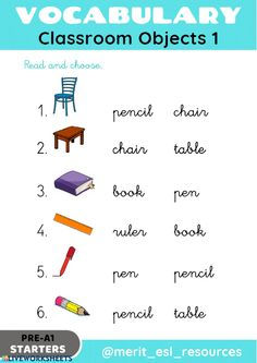 School Objects - Read and choose - Interactive worksheet, English Activities For Kids, English Grammar For Kids, Learning English For Kids, English Worksheets For Kids, English Lessons For Kids, Kids English, English Vocabulary Words, Teaching English, Learn English