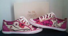 Coach Poppy Petal Signature Barrett Sneakers Tennis Shoes Womens Size 8.5 Rare