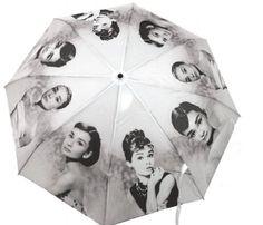 #Audrey Hepburn Classic Retro Folding Umbrella Anti-UV Folding Umbrellas Auto Open Sun Umbrella Audrey Hepburn, Brollies, Anti Uv, Style Inspiration, Cute, Beautiful, Crystal, Amazon, Products
