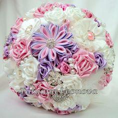Fabric Wedding Bouquet Brooch bouquet Romantic Ivory Pink от LIKKO, $75.00