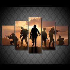 5 Piece Canvas Art Army Soldier Sunset Painting Wall Pictures for Living Room Canvas Prints 5 Piece Canvas Art, Canvas Wall Art, Wall Art Prints, Poster Prints, Canvas Frame, Artwork Pictures, Canvas Pictures, Photos, Home Decor Paintings