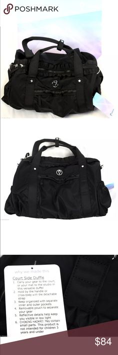 """NWT Ivivia Courtside Black Duffle Bag 10"""" D x 10"""" H x 17"""" W  Color: Black Style: Court Side Duflle  Condition: New with Tags Attached Includes Ivivva Shopping Bag  Features:  -Authentic, Purchased at Ivivva -Includes Removable Strap (still attached inside bag) -Removable Teal Pouch (still attached inside bag) -Multiple Pockets -Ruffle Detail along Zippers on top and side of bag -Reflective Details -Lined in Teal Fabric -100% Nylon Ivivva Accessories Bags"""