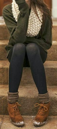 Tights With Sweater and a Scarf