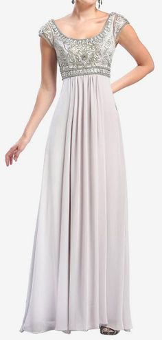 white silver Embroidered Bodice Gown in Platinum by Sue Wong