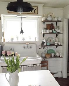 Eclectic Home Tour - The Willow Farmhouse Antique kitchen sink, shiplap walls and open shelving in this farmhouse tour eclecticallyvinta. Always aspired to be a. White Farmhouse Sink, Farmhouse Sink Kitchen, Farm Sink, Antique Farmhouse, Farmhouse Design, Country Kitchen, New Kitchen, Kitchen White, Farmhouse Style