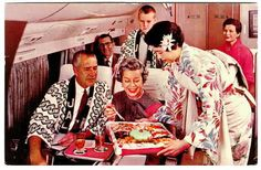 JAL (Japan Air Line) first class in the good old days. Flight Attendant used to wear Kimono.