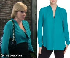 I'm a Soap Fan: Ava Jerome's Teal Silk Blouse - General Hospital, Season 54, Episode 09/02/16, Maura West, #GH Wardrobe, Clothing worn on #GeneralHospital