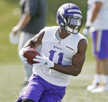 Minnesota Vikings wide receiver Laquon Treadwell, runs a pattern during the NFL football team's rookie minicamp Friday, May 6, 2016, in Eden Prairie, Minn. (AP Photo/Jim Mone)