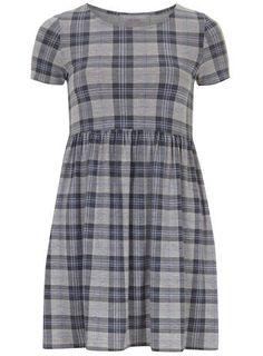 Petite grey check smock dress - Petite Dresses - Dresses