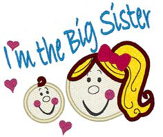 I am the Big Sister  machine embroidery applique and by artapli, $3.49