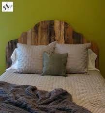 Find some scrap wood, adhere it together and cut out your own head board in any shape. Or distress new lumber to achieve a more specific look!