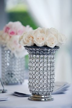 Love the bling with the cream roses!  Love the vase!!