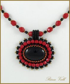 Bead Embroideried Onyx Necklace